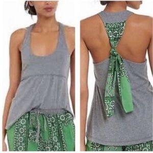 E by Eloise Anthropologie Green Bandana Tie Tank